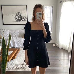Black button up mini dress